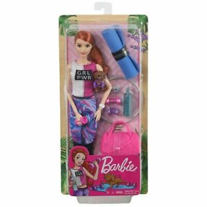Barbie Articulated Fitness Doll - Redhead w/ Puppy & Accessories. Brand New NRFB