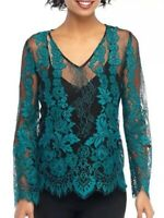 The Limited Womens Deep Lake Teal w/Black Lace Scalloped Top w/Cami Size L $79
