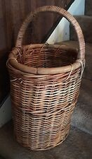 Vintage rounded Oval Woven Wicker Stair Step Basket Handle solid sturdy