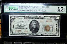 1929 $20 NATIONAL BANK NOTE ✪ 1ST NB OF MORRISTOWN ✪ NJ 1188 PMG 67-EPQ◢TRUSTED◣