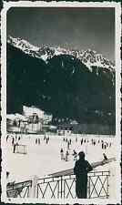 Chamonix, les aiguilles de la Floriaz, patinoire Vintage silver printEnserrée