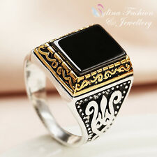 18K White & Yellow Gold Plated Black Agate Square Vintage Pattern Men`s Ring