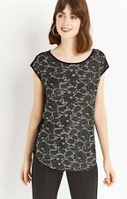 New Ex Oasis Floral Grey Lace Cap Sleeved Smart Party Evening Top Size S - XL