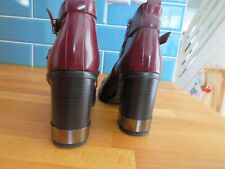 """TOPSHOP SIZE 5 EUR 38 CHESTNUT BROWN ANKLE BOOTS BLOCK HEEL 2.5"""" LEATHER"""