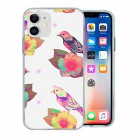 For Apple iPhone 11 Silicone Case Birds Flowers - S1283