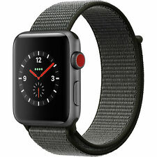 Apple Watch Series 3 42mm Cellular Space Gray Dark Olive Sport Loop MQK62LL/A
