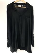 Avenue Womens 22/24 Plus Size Blouse Knit Black Long Sleeve Pockets Collar