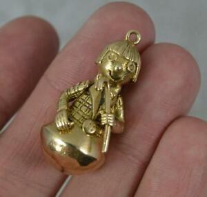 Heavy Vintage Solid 9 Carat Gold Child Catcher Type Pendant Charm