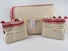 Pottery Barn Nellie Pick-Stitch Tassel Queen Quilt w/2 Euro Sham Red #7945