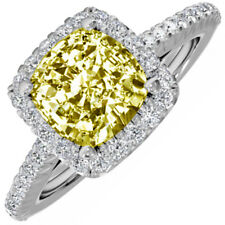 GIA Certified 7.50 CTW Cushion Cut Fancy Yellow Diamond Engagement Ring Platinum