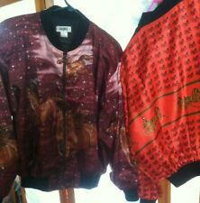 Burgandy/Rose Or Red/Black Bomber Jacket in Horse Motif One Size Very Flashy