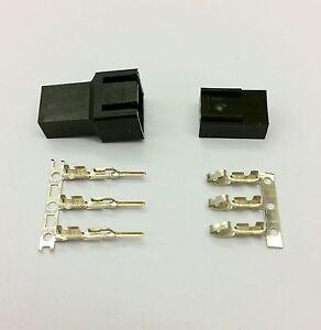 MALE & FEMALE 3 PIN PC FAN LED POWER CONNECTORS - 5 OF EACH- BLACK INC PINS