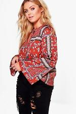 Boohoo Plus Laurie Western Printed Blouse Size UK 24 LF087 FF 23