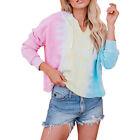 V Neck Tie Dye Long Sleeve Drawstring Hoodie Sweatshirts Hooded Blouse Pajamas