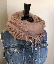 Woven Fringe Bohemian Wool Blend Wrap Scarf Shawl Boho Neutral Beige Taupe