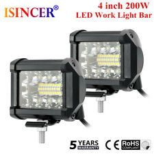 Pair 4inch 200W CREE LED Work Light Bar Pods Flush Mount Combo Driving Lamp 12V
