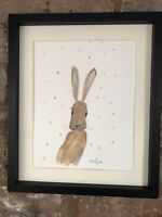 Sunshine Hare Watercolour, Signed Original Art, Vintage, Cottage, Gift
