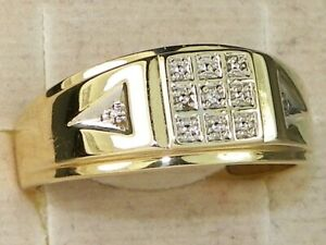 Men's 10k Yellow Gold Diamond Wedding Band Fine Solitaire Ring-Size 11