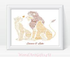 Personalised Disney Engagement Lion King Simba and Nala Word Art Print Gift