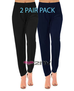 Womens Straight Leg Trousers 2 PAIRS PLUS SIZE Stretch Casual Elasticated Pants.