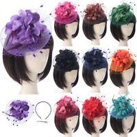 Women Wedding Fascinator Penny Mesh Hat Ribbons Feathers Elegant Hat Hair Clip