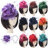 Women Wedding Fascinator Penny Mesh Hat Ribbons Feathers Elegant Hat Hair Clip