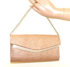 BOLSO ORO ROSA CLUTCH bag shimmer mujer glitter cadena plata ceremonia veske G64