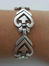 Taxco Mexico Sterling Silver Modernist Ornate Link Bracelet