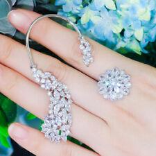 Elegant CZ Asymmetrical Flower Long Ear Clip Ear Hook Stud Earrings for Women