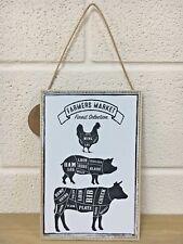Wooden Vintage Plaque Meat Cuts Farmers Market