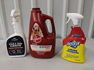 MIXED LOT Hoover Expert Pet Carpet Washer Detergent 120 oz & Pet Stain Odor Remo