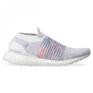 New adidas UltraBOOST Laceless B75857 White Multi-Color Rainbow Running Shoes
