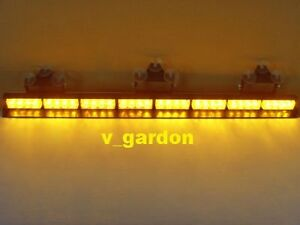 "35"" Emergency 8 Modules 32 LED 1W Amber Windshield Strobe Lightbar Light"