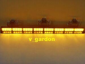 "35"" Emergency 8 Modules 32 LED 1W Amber Windshield Strobe Lightbar Light"