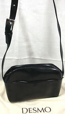 "Desmo Black Smooth Italian Leather Crossbody Bag 44""Adj.Strap Top Zip 6""x8.5""x3"""