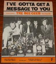 THE BEE GEES ~ I'VE GOTTA GET ~ RARE ORIGINAL UK SONG MUSIC LYRIC SHEET 1968