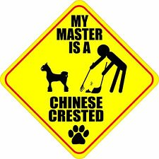 "My Master Is A Chinese Crested 4"" Dog Poop Sticker"