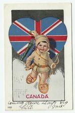 CANADA National Cupid Snow Shoeing 1907 Ulman Mfg. Co. Postcard