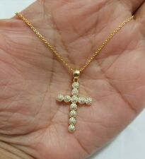 Women 14k Yellow Gold over Sterling Silver Cross Charm Pendant Chain Necklace