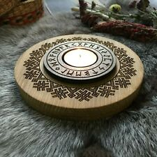 Futhark Wooden Candle holder / candlestick home altar Wicca Witch Asatru Runes