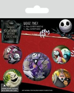 NIGHTMARE BEFORE CHRISTMAS Characters Badge Pack of 5 Safety Pin Backed Badges