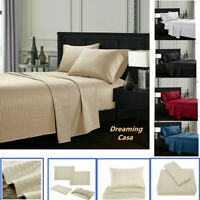 Queen King Deep Pocket Bed Sheet Set Fitted Flat 1800 Count Hotel Luxury D1