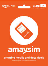 AUSTRALIA AMAYSIM PREPAID $2 MOBILE SIM CARD STARTER KIT PACK 3G 4G MICRO NANO