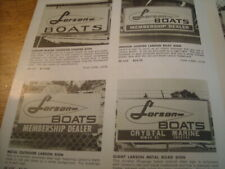 1966 Vintage LARSON Boats Dealer Sign Snowmobile Brochure Watercraft