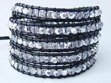 5 Wrap Bracelet Crystal beads adjustable Cowhide leather fashion bracelet