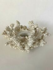 PartyLite  White Coral Reef Porcelain Candle Holder Ocean Nautical Summer Decor