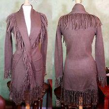 BB DAKOTA Coat Robe Tan FRINGE KNIT Womens Sz S/M Open Front - Pockets