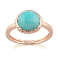 Rose Gold Plated Sterling Silver Turquoise Amazonite Round Textured Ring Size L