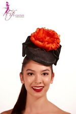 Black Fascinator with Large Orange Feather Flower - Made in Aussie - A028