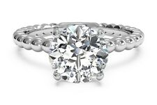 Real 14K Solid White gold 1.98ct Diamond Round cut Anniversary Engagement Ring
